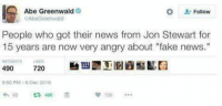 """Memes, Angry, and Jon Stewart: Abe Greenwald  Follow  Abe Greenwald  People who got their news from Jon Stewart for  15 years are now very angry about """"fake news.  490  720  9250 PM- 6 Dec 2016  490"""