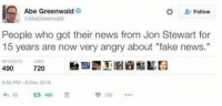 """Memes, Angry, and Jon Stewart: Abe Greenwald  Follow  AbeGreenwald  People who got their news from Jon Stewart for  15 years are now very angry about """"fake news.""""  RETWEETS  490  720  9:50 PM 6 Dec 2016  65 490 (GC)"""