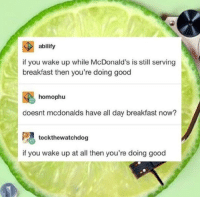 McDonalds, Breakfast, and Good: abilify  if you wake up while McDonald's is still serving  breakfast then you're doing good  homophu  doesnt mcdonalds have all day breakfast now?  tockthewatchdog  if you wake up at all then you're doing good No mater what time you wake up, youre doing great! via /r/wholesomememes https://ift.tt/2P96Nph