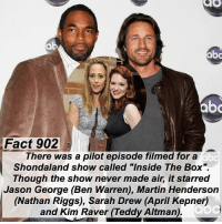 """Abc, Facts, and Martin: abo  Fact 902  There was a pilot episode filmed for a  Shondaland show called """"Inside The Box"""".  Though the show never made air, it starred  Jason George (Ben Warren), Martin Henderson  (Nathan Riggs), Sarah Drew (April Kepner)  and Kim Raver (Teddy Altman) Fact 902😱 There was a pilot episode filmed for a Shondaland show called """"Inside The Box"""". Though the show never made air, it starred Jason George (Ben Warren), Martin Henderson (Nathan Riggs), Sarah Drew (April Kepner) and Kim Raver (Teddy Altman). — factsforgreys_jason factsforgreys_martin factsforgreys_kim factsforgreys_sarah greys greysanatomy jasongeorge jasonwinstongeorge benwarren benley martinhenderson nathanriggs merthan griggs kimraver teddyaltman tenry sarahdrew aprilkepner japril insidethebox shondaland abc ga tgit like facts like4like likeforlike dancemoms"""