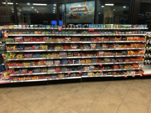 This is the full selection of candy at Raceway. How many bubble gum options do you see?: Aboenyd ewnt e  10  ICED  13  AddE  Dianun  CIDE  SEN  FINE  Orbit Com  From  Ca  COrmin  Crbit  Buy 1  Get 1 for 10  Trident  oldent  Juicy Fruit BaRed  mentosC  mentos  Get 1 for 10  SPEARMINT  DOUBLEMINT  ICE E  Buy 1  Buy 1  Get 1 for 16 Get 1 lor 10  lip  Wanterfresh  xtra  Extra  Extra  Excra  Extre  ICE  CUBES  Extra  Defrender  CUBE  CO  Extra  ICE  CUBE  Extra  Excra  B10  SHARL  CUB  kittles  Skittles  Skittles SHARE  SIZE  SHA  SIZ  C mentos mentos ment  ers  WLA  bos  mentos  HEADS  rheers  Goldbenrs  Skittles  SALARE  OiginAL  MAPPY  mentos  mints  Twizlers  SMARS  CIR HEADS  ALIOIDS  SHARE  HARIBO  Pont  PAYDAY  Twix  SHEY'S  SOUR BRITE  S29  DCOPUS  HERSHEY'S  டிக்  SNICKERS  Skittles  Skittles z  SHARE  AIRHEADS  Kins  SIze  AIRHEAPS  bars  GuoPTARTS  Rores  Bultterninge  Aower  XTREMES  bites  Buteringer  KeKat  HARIBO  Twix  2ENICKERS  RSHEY  HERSHEYS  $1.4  НЕRCHEYS  $2.29  KING  SIZE  WHITE  SNICKERS  Cormed  m&me  AIR  HEADS  SNIGKERS  SOUR  PATCH  Reeser  PAST BREAK  Reeses  STICKS  CRISP  SweeTARTS  KING  SIZE  Ran RTS  KING  SIZE  ROPES Bites  SMOB  MikTWay  SweeTARTS  SweeTARTS  XTREM  ROPES  Darmell  Papamell  ЗПХат  Butterfinger  CRISP  MilkyWay 2  BMusketeers  bite  Twix  ENIGALS  S1.29  KieKou  ureeurYTEn n  SIZE  SNICKERS  ALMONO RUTTER  SNICKERS  SYICKERS  TOHiay  Toffifay  Urui  20  heeses  $2.29  24  murbursi  Starburs  GUmmees  Toffifay  OKES  Milky Way  NOW  Toffifay  Toffifay  BahyRuth,  Tariles  MilkyWay  Mounds 7  Goodher  Piece  Almond Joy  CKERS GNICKENS  COKOING SIGYA  FUGGI  king  size  ICKEDS EKES  GAEES IGKERS  SNIGKERS  $2.29  Skitue  Prefze  12.29  Ski  KitKop  Reeses  Skitue  Skittles  SKItles  OGRANI  Reeses  1RAKES  DO GRAND  Skittles  Buy  Get 1 for 10  OGRAN D  Skittles  SweeTARTS  CIANT CHEWY  noGRAND  AIRHEADS  WEETARTS  Per  Swedish  Get 1 for 10  100 GRAND Pice  Muskeieel  Yerk  RAYDAY  EV'S  OREO  Twix  Musketeer  POHLV'C  