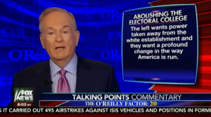 memehumor:  Bill O'Reilly's argument for the Electoral College: it keeps white voters in power: ABOLISHING THE  ELECTORAL COLLEGE  The left wants power  taken away from the  white establishment and  they want a profound  change in the way  America is run.  FOX  EWS  TALKING POINTS COMMENTARY  8:03 ETTHE O'REILLY FACTOR: 20  IT CARRIED OUT 495 AIRSTRIKES AGAINST ISIS VEHICLES AND POSITIONS IN FORM memehumor:  Bill O'Reilly's argument for the Electoral College: it keeps white voters in power