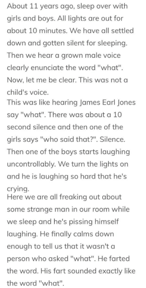 "Crying, Fail, and Girls: About 11 years ago, sleep over with  girls and boys. All lights are out for  about 10 minutes. We have all settled  down and gotten silent for sleeping.  Then we hear a grown male voice  clearly enunciate the word ""what"".  Now, let me be clear. This was not a  child's voice   This was like hearing James Earl Jones  say ""what"". There was about a 10  second silence and then one of the  girls says ""who said that?"". Silence.  Then one of the boys starts laughing  uncontrollably. We turn the lights on  and he is laughing so hard that he's  crying   Here we are all freaking out about  some strange man in our room while  we sleep and he's pissing himself  laughing. He finally calms down  enough to tell us that it wasn't a  person who asked ""what"". He farted  the word. His fart sounded exactly like  the word ""what"". roadhonk: I first read this story on Reddit several months ago but in the time since then it has absolutely haunted me and I regularly remember it as I'm laying down to sleep and without fail even thinking about it will make me laugh hard enough that I wake my sleeping boyfriend and I have to explain ""I thought about the what fart again"" and apologize"