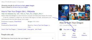 Wikipedia, American, and Budget: About 157,000,000 results (1.33 seconds)  Showing results for all how to train your dragon  Search instead for all how to train you dragon  How to Train Your Dragon (film) - Wikipedia  https://en.wikipedia.org wiki > How_to_Train_Your_Dragon_(film)  DRAGEN  How to Train Your Dragon is a 2010 American computer-animated action fantasy film loosely  NOT  HICCUP!  RAG  DRAGON  In the film, Toothless is a Night Fury, the rarest of all dragons, far faster, aerodynamic and  More images  more powerful than the other species, and is large...  DRAG  Production company: DreamWorks  Budget: $165 million  How to Train Your Dragon  Animation  Based on: How to Train Your Dragon; by  2010 Drama/Fantasy 1h 38m  Produced by: Bonnie Arnold  Cres...  How to Train Your Dragon 2 Cressida Cowell Video game John Powell  Play trailer on YouTulbe  8.1/10  99%  74%  People also ask  Rotten  IMDB  Metacritic  Tomatoes  Will there be a how do you train your dragon 4? yes.