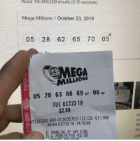 Mega, Mega Millions, and Meca: About 185 000 000 resuits (0.35 seconds)  Mega Millions October 23, 2018  05 28 62 65 70 05  MECA  MILLIONS  05 28 63 66 69 ap 06QP  TUE OCT23 18  $2.00  07725300 983-013635763-122729 011789  MON OCT22 18 14:10:56  res  RE  So  Dail  IF GAMBLING OF ANY KIND  IS A PROBLEM FOR YOU OR