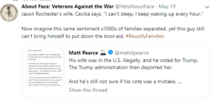 "Kool Aid, Trump, and Wife: About Face: Veterans Against the War VetsAboutFace May 19  Jason Rochester's wife, Cecilia says, ""l can't sleep. I keep waking up every hour.""  Now imagine this same sentiment x1000s of families separated, yet this guy still  can't bring himself to put down the kool-aid. #ReunityFamilies  Matt Pearce-. @mattdpearce  His wife was in the U.S. illegally, and he voted for Trump.  .The Trump administration then deported her.  11And he's still not sure if his vote was a mistake.  Show this thread"