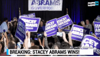 BREAKING: Stacey Abrams wins a historic victory for the entire progressive movement by becoming the Democratic Gubernatorial nominee in Georgia!  We're on the scene with MoveOn in Atlanta to celebrate, tune in!: ABRAMI  MOVEON  GOVERNOr  STA  AB  Gov  ATLANT  A GEORG  BREAKING: STACEY ABRAMS WINS! BREAKING: Stacey Abrams wins a historic victory for the entire progressive movement by becoming the Democratic Gubernatorial nominee in Georgia!  We're on the scene with MoveOn in Atlanta to celebrate, tune in!