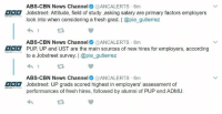 Filipino (Language), Pup, and Cbn News: ABS-CBN News Channel  @ANCALERTS 6m  Jobstreet: Attitude, field of study ,asking salary are primary factors employers  look into when considering a fresh grad. I @pia gutierrez  ABS-CBN News Channel  @ANCALERTS 6m  ANG PUP, UP and UST are the main sources of new hires for employers, according  to a Jobstreet survey. I @pia gutierrez  4h 1  ABS-CBN News Channel  @ANCALERTS 6m  Jobstreet: UP grads scored highest in employers' assessment of  performances of fresh hires, followed by alumni of PUP and ADMU Hanggang saan aabot ang DOSE pesos mo??? #EdukasyongDOSEpesos