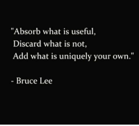 """Bruce Lee: """"Absorb what is useful,  Discard what is not,  Add what is uniquely your own.""""  Bruce Lee"""