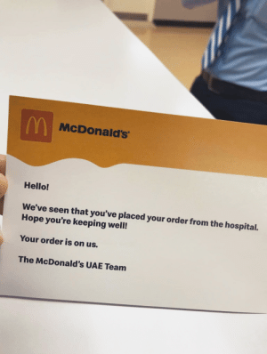 Abu Dhabi nurse ordered food and got this letter.: Abu Dhabi nurse ordered food and got this letter.