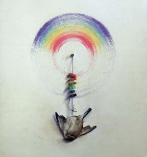 "Reddit, Target, and Tumblr: abybweisse:  abake47:  sixpenceee:  Sparrow, oil on board, posted by reddit user marksonwalls. This painting is powerful  morbid.   Wow this hit me hard   It's much sadder when you realize the stronger ""rainbow"" on the upper half was caused by the bird trying with all its might to fly away…. The bottom, weaker half is the bird getting weak and dying.Ugh, it's kind of depressing…."