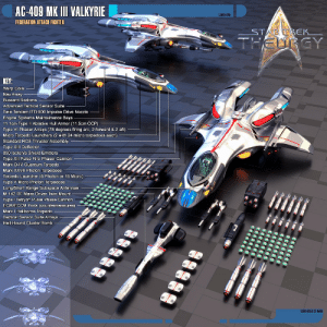 Arsenal, Community, and Energy: AC-409 MK III VALKYRIE  LCARS 14785  FEDERATION ATTACK FIGHTER  KEY:  Warp Coils  Nav Array  Bussard Radome  Advanced Tactical Sensor Suite  Twin Tandem ITD-900 Impulse Drive Nozzle  Engine Systems Maintainence Bays  11.1cm Type ll Ablative Hull Armor (11.5cm OCP)  Type VI Phaser Arrays (78 degrees firing arc, 2 forward & 2 aft)  Micro Torpedo Launchers (2 with 24 micro torpedoes each)  Standard RCS Thruster Assembly  Type XIII Deflector  390 Isoton/s Shield Emitters  Type XII Pulse Fire Phaser Cannon  Mark XXVII Photon Torpedoes  Torpedo Launcher (5 Photon or 15 Micro)  Type V Micro Photon Torpedoes  Long/Short Range Subspace Antennae  M-142 RF Mass Driver Twin-Mount  Type l Tetryon Pulse Phase Cannon  ECM/ECCM Pods (countermeasures)  Mark I Hellborne Torpedo  Tactical Sensor Suite Arrays  Hell-Hound Cluster Bomb  LCARS ACCS 2315006 auctorlucan:  AC-409 Mk III Valkyrie Federation Attack Fighter by Auctor-Lucan    These are the space fighters the Lone-Wolves Squadron use in Star Trek: Theurgy. While they were inspired by the old Gryphon-class fighters originally designed by KadenDark (http://galen82.deviantart.com/), the 3D model was a commissioning done by Pinarci on DeviantArt (http://pinarci.deviantart.com/) via his Fiverr account (https://www.fiverr.com/mehmetpinarci). The model and its concept is owned by me, but this project could not have turned out the way it did without Pinarci. Original idea, edits, texts and add-ons to the 3D render of the ships were made by yours truly.Projects like these are a process, and this proved to be a long one with a lot of revisions, but in the end, Pinarci exceeded all expectations and then some. While 3D artists in general might provide excellent overall work, he excel in this specific field. He is *the* 3D shipbuilder out there, and if anyone has need to make spaceships for games or animations, look no further.  —————————————————————————————  BACKGROUND INFORMATION:  TACTICAL CONN  THE VALKYRIE PROGRAM The formation of the Starfleet Aerospace Command is heavily influenced by the successful deployment of Peregrine-class fighters aboard the starships serving as carriers in the fleet, yet the USS Theurgy does not hold a squadron of Peregrine-class fighter aboard, but the more developed Valkyrie-class. Namely, the prototype Mk III version, a superior fighter that make use of recent advances in technology. The year 2375 - after the conclusion of the Dominion War - the AC-409 Mk I Valkyries were deployed. These fighters were assigned to the USS Typhon [TNG game: Star Trek: Invasion]. They were initially designed as a carrier-based fleet engagement craft. Initially, the design proved successful, with a high survivability rate matching the heavy fire power available to bring down larger ships. In learning that a full squadron of Valkyries would still require a lot of support from for engagements of a Dominion-War level threat, Starfleet deemed that the attack fighter needed an upgrade. By 2381, these fighters are still being deployed in fairly limited numbers - shuffled around the fleet. Another development at the time was that a group of influential admirals in the fleet demanded to form a new - evaluational - department that hand-picked the Conn officers with the most tactical training. It was the only way, they reckoned, to ensure that the fleet used the right kind of pilots for these fighters. The original score of 400 personnel -  the fleets new Tactical Conn officers - served as the foundation for a new and more organised department for fighter pilots. They accepted only the highest scoring Conn or fight-trained Security or Tactical Cadets, and then dealt them another year of training in the fields they lacked from their Academy training. White became the chosen colour for the department, and the admirals that rode this project into history became the core of the Aerospace Command.Both the Mk I and II Valkyries used Rear Intercept Officers (RIOs). The efficiency in which the attack fighters were operated were doubled by allowing the pilots to focus solely on the manoeuvres and weapons employment of the craft during a fight, allowing the RIO to handle comm traffic, emergency repairs and tactic simulations. Among the improvements for the Mk II Valkyrie were a new ablative armour compound, improved power plant, and the employment of a hardpoint system beneath the wings. With the Mk II, the Valkyrie truly stepped into a class of her own. At the success of the Mk II and the fleet-wide deployment of the Valkyries in the fleet, Starfleet Command began looking into the Valkyrie with more interest. Initially, they had considered Tactical Conn another spear in Starfleet's arsenal. So when the project was given new funding, RD went back to the drawing board to see what could be improved on an already formidable weapon.The first step was to increase the command, control and reconnaissance capabilities of the design. Originally, the Valkyrie (both Mk I and Mk II) employed an Isolinear twin-core design computer system, with 372 Isolinear banks and 106 command preprocessors and data analysis units. This design was quite successful for the use of standard comm traffic control and tactical targeting, but newer sensor package upgrades intended for the Valkyrie were hampered by a core that was already at its limit for processing power. So, with the eagerness of little boys with a new toy to take apart, RD began a computer system redesign from the ground up, which would lead to hull, engine and weapons redesign, and end in an almost completely new Space Superiority attack fighter: the AC-409 Mk III Valkyrie.By the time, Hyperjet Quantite Mk IV reactor cores were being successfully implemented in the experimental Knight-class interceptor. These core types could be sized variably (depending on the design requirements) while still maintaining a very high energy output. A twin-core design was drafted for the new Mk III, and projected numbers suggested the Mk III would see a 25% increase to power output than the Mk I  II series. With this increase in power output, a larger computer core system was designed. Utilizing bio-neural processors and relays, the original frame space needed for the computer systems was reduced, and spread out through the centreline of the craft. Computational capacity and storage was increased by another 30%, and a new tactical link-up library software system was implemented. The system provided a clearer and more accurate battlefield image the pilot, and the integration was so effective that the RIOs were not needed any more - only one pilot required in the cockpit.With this new freedom of space within the spacecraft hull, RD decided a more streamlined hull would benefit the pilot. Their new, sportier look reduced sensor cross-section and improved warp field stability for the twin quantite reactor cores. With the hull redesign came minor changes to weapons load-out: the arrangement of the standard Type-XII pulse phaser cannons and microtorpedo launchers in the Mk II changed only slightly to fit into the new spaceframe. The hard-point system was simplified, and the pulse phaser cell-magazine rack was switched from a vertical feed system to a horizontal feed system – this to combat original design flaws and jams during gravity-inducing combat manoeuvres.Lastly, one more weapon was added: a tetryon pulse phase cannon was installed on the underside of the cockpit within its own hull compartment. This cannon was installed for ground suppression roles, and to give the Valkyrie an added punch in the Space Superiority role. The drawback to the tetryon pulse phase cannon is that it draws a lot of power and given its size, craft manoeuvrability is severely impeded when utilizing the weapon. Though the weapon itself could effectively neutralize enemy engine and weapons systems as well as due considerable damage, the weapon itself failed at a remarkable rate when engaged in combat manoeuvres. A straight-line course was required for the weapon to work effectively, limiting it to the dangerous Head-to-Head combat manoeuvre, and strafing of ground or orbital targets. With these weapon enhancements and increase in power, a slightly larger pair of shield generators were installed, increasing shield sustainable load to 390 isotons/second. The ablative armour was also thickened from 10.7 cm to 11.1 cm.The top speed and warp capabilities of the Mk III remained virtually unchanged, but the increased power output from the new quantite cores benefited the improved avionics, sensor, weapons and shield systems more than her speed. Despite of this, the Valkyrie Mk III could easily go toe-to-toe with the fastest Interceptors currently in service. What she lacked in speed, she made up for in raw firepower. As of 2381, the Mk III Valkyrie remained a prototype test model, but with the recent development in intergalactic politics and the potential Romulan threat, the project was pushed towards immediate deployment by Aerospace Command. So, since the new version of the Prometheus-class starship - the USS Theurgy - was not only being fitted with an A.I. inter-phase, but with a fully operational (if small) fighter assault bay, the decision was made. The Theurgy was given a complement of sixteen Mk III fighters with their own Squadron Commanding Officer and a crew of thirty technicians hailing from Starfleet Operations or Engineering Corps. The sixteen pilots were named the Lone-Wolves, and though decimated to only twelve pilots after their escape from Earth, the survivors remain - fighting to preserve the truth of the corrupted Starfleet Command.————————————————————————————— This role-play group and the promotional trailer functions solely as a non-profit entertainment for writers where no economical gain is perceived by any of its members as a result of the available media. Star Trek, Star Trek: The Original Series, Star Trek: The Next Generation, Star Trek: Deep Space Nine, Star Trek: Voyager, Star Trek: Enterprise, the Star Trek movies, etc. are © Copyright Paramount Pictures or CBS Studios.Star Trek: Theurgy is a well-established Play-by-Post Simple Machines Message Board RP, and also a part of the House of Eros online community. This Star Trek Group RP has 15 active players and it is but one of hundreds of role-playing opportunities presented at the House of Eros (http://houseeros.com/roleplay-role-playing-forum/index.php). So, in order to join the Star Trek: Theurgy group, you will have to join the House of Eros community.The House of Eros is an adult community, and while the Star Trek: Theurgy RP is extremely storydriven, it should be mentioned that it is still rated 18+ and has sexual content. The House of Eros site as been submitted as 'Explicity for Adults' to various rating groups, in the interests of protecting minors from its various sexual and mature content. The site is intended for online roleplay and erotic web fiction. You must be 18 or older to be a member. If we find anyone who is younger than that, it will result in an immediate ban. Please see site rules for further information: http://houseeros.com/roleplay-role-playing-forum/index.php?topic=12680.0Link to joining information (after joining HoE): http://houseeros.com/roleplay-role-playing-forum/index.php?topic=15657.0Link to the Star Trek: Theurgy MB: http://houseeros.com/roleplay-role-playing-forum/index.php?board=116.0Watch the Star Trek: Theurgy Promotional Trailer Ver. 2.1 here: http://vimeo.com/auctorlucan/theurgyLink to our Tumblr blog: http://auctorlucan.tumblr.com/