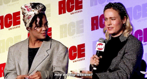 "rainbowkarolina:  Tessa⏤""I'm sure the lesbians could show you right after this panel""Brie Larson and Tessa Thompson at ACE Comic Con: AC  UNIVERSE  UNIVERSE  CE  ICE H  NIVERSE  VEL  UNIVERSE  How do 0 top lesbians? rainbowkarolina:  Tessa⏤""I'm sure the lesbians could show you right after this panel""Brie Larson and Tessa Thompson at ACE Comic Con"