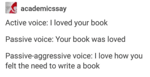 Love, Book, and Passive Aggressive: academicssay  Active voice: I loved your book  Passive voice: Your book was loved  Passive-aggressive voice: I love how you  felt the need to write a book