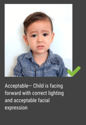 me irl: Acceptable- Child is facing  forward with correct lighting  and acceptable facial  expression me irl