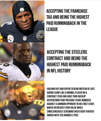 Memes, Nfl, and Common: ACCEPTING THE FRANCHISE  TAG AND BEING THE HIGHEST  PAID RUNNINGBACK IN THE  LEAGUE  ACCEPTING THE STEELERS  CONTRACT AND BEING THE  HIGHEST PAID RUNNINGBACK  IN NFL HISTORY  HOLDING OUT AND ENTIRE SEASON INSTEAD OF JUST  DURING CAMP LIKE A NORMAL PLAYER ON A  CONTRACT YEAR AND HAVE YOUR BACKUP  OUTPERFORM YOUR PREVIOUS YEARS NUMBERS  AGAINST A COMMON OPPONENT IN HIS FIRST START  WHICH DECREASES YOUR VALUE WHILE  SIMULTANEOUSLY SCREWING OVER EVERY FANTASY  OWNER WITH THE NUMBER 2 PICK 😂😂😂 https://t.co/9jY9gy2eSY
