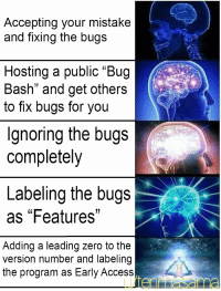 "I never signed no NDA: Accepting your mistake  and fixing the bugs  Hosting a public ""Bug  Bash"" and get others  to fix bugs for you  Ignoring the bugs  completely  Labeling the bugs  as ""Features""  Adding a leading zero to the  version number and labeling  the program as Early Access I never signed no NDA"