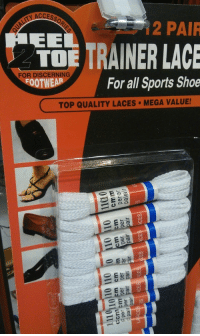 "Shoes, Sports, and Tumblr: ACCESS  2 PAIR  TRAINER LAC  FOR DISCERNING  OOTWEAR  For all Sports Shoe  TOP QUALITY LACES MEGA VALUE! <p><a href=""http://memehumor.net/post/160779530773/this-package-of-shoelaces-shows-shoes-that-dont"" class=""tumblr_blog"">memehumor</a>:</p>  <blockquote><p>This package of shoelaces shows shoes that don't require them.</p></blockquote>"