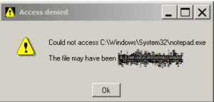 I just wanted to make a to-do list..: Access denied  Could not access C:\Windows\System32\notepad.exe  The file may have been  Ok I just wanted to make a to-do list..