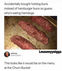 Memes, Guess, and 🤖: Accidentally bought hotdog buns  instead of hamburger buns so guess  who's eating hamdogs  Lmaomyynigga  anthony  @xforcades2  This looks like it would be on the menu  at the Chum Bucket 😩😂