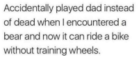 Dad, Bear, and MeIRL: Accidentally played dad instead  of dead when I encountered a  bear and now it can ride a bike  without training wheels. Meirl