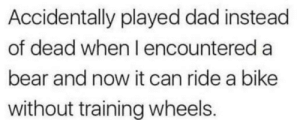 Dad, Dank, and Memes: Accidentally played dad instead  of dead when I encountered a  bear and now it can ride a bike  without training wheels. Meirl by leon1891 MORE MEMES