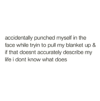 Funny, Life, and What Does: accidentally punched myself in the  face while tryin to pull my blanket up &  if that doesnt accurately describe my  life i dont know what does Pretty much summed up 😩😂