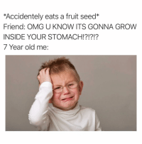 Funny, Omg, and Old: *Accidentely eats a fruit seed*  Friend: OMG U KNOW ITS GONNA GROW  INSIDE YOUR STOMACH!?!?!?  7 Year old me: I have a watermelon inside that still hasn't hatched 😩