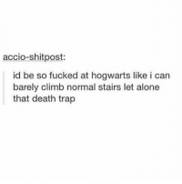 Being Alone, Memes, and Shit: accio-shit post:  id be so fucked at hogwarts like i can  barely climb normal stairs let alone  that death trap