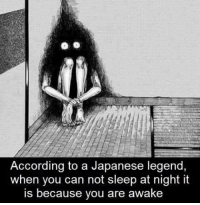 "Arguing, Memes, and Japanese: According to a Japanese legend,  when you can not sleep at night it  is because you are awake <p>Can't argue against that via /r/memes <a href=""https://ift.tt/2raocEp"">https://ift.tt/2raocEp</a></p>"