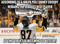 DOUBLE TAP IF HES STILL THE BEST! Tag Some Buds!: ACCORDING TO A.NHLPA POLL SIDNEY CROSBY  REMAINS THELEAGUES BEST PLAYER  HON  @NHLChirps  STHISTRUE?IFNOT WHOISBEITER? DOUBLE TAP IF HES STILL THE BEST! Tag Some Buds!