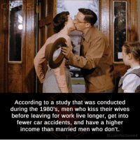Cars, Memes, and According: According to a study that was conducted  during the 1980's, men who kiss their wives  before leaving for work live longer, get into  fewer car accidents, and have a higher  income than married men who don't.  fb.com/factsweird