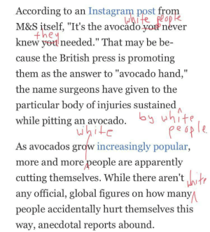 "I just read an article about newly designed seedless avocados I made a few corrections to the text: According to an Instagram post fro  M&S itself, ""It's the avocado.yonever  knew yod needed."" That may be be-  cause the British press is promoting  them as the answer to ""avocado hand,""  the name surgeons have given to the  particular body of injuries sustained  while pitting an avocado. bht  Lu  As avocados grow increasingly popular  more and more people are apparently  cutting themselves. While there aren'tor  any official, global figures on how many  people accidentally hurt themselves this  way, anecdotal reports abound. I just read an article about newly designed seedless avocados I made a few corrections to the text"