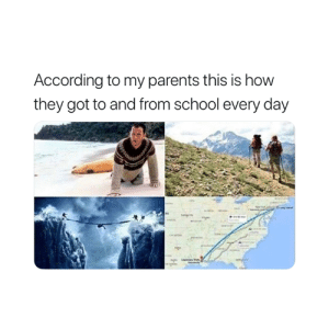 Parents, School, and According: According to my parents this is how  they got to and from school every day Exactly 😅