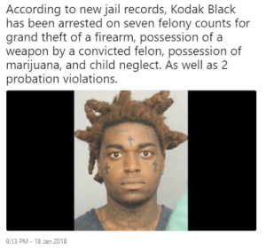 Jail, Tumblr, and Black: According to new jail records, Kodak Black  has been arrested on seven felony counts for  grand theft of a firearm, possession of a  weapon by a convicted felon, possession of  marijuana, and child neglect. As wel as 2  probation violations.  8:13 PM - 18 Jan 2018 6killshit:  Its a wrap.  smfh
