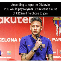 Football, Memes, and Neymar: According to reporter DiMarzio  PSG would pay Neymar Jr's release clause  of 222m if he chose to join.  kute  ELONA  PAR A new level😯 🔺FREE FOOTBALL EMOJIS➡️LINK IN OUR BIO! Follow (me) @iamtrollfutbol for more🙏