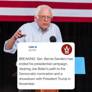 According to reports, #BernieSanders has ended his 2020 Presidential Campaign. Former Vice President #JoeBiden will be the Democratic nominee and will go up against #PresidentTrump in November's election. Thoughts?👇🤔 @CNN https://t.co/xgwNGXTIYA: According to reports, #BernieSanders has ended his 2020 Presidential Campaign. Former Vice President #JoeBiden will be the Democratic nominee and will go up against #PresidentTrump in November's election. Thoughts?👇🤔 @CNN https://t.co/xgwNGXTIYA