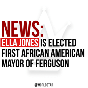 According to reports, Ella Jones became the first African-American and the first woman, to be elected Mayor in Ferguson, Missouri... read more...https://t.co/2EPjBkoYFG https://t.co/bRV0e2Vao5: According to reports, Ella Jones became the first African-American and the first woman, to be elected Mayor in Ferguson, Missouri... read more...https://t.co/2EPjBkoYFG https://t.co/bRV0e2Vao5