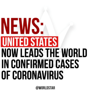 """According to reports, the #UnitedStates now leads the world in confirmed cases of #coronavirus. """"There are now at least 82,100 coronavirus cases reported in the United States."""" says @CNN. There have been 81,782 cases reported in China while Italy reports they have 80,589. https://t.co/qHyH9zzPw2: According to reports, the #UnitedStates now leads the world in confirmed cases of #coronavirus. """"There are now at least 82,100 coronavirus cases reported in the United States."""" says @CNN. There have been 81,782 cases reported in China while Italy reports they have 80,589. https://t.co/qHyH9zzPw2"""