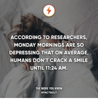 🖐 Tag a friend! ❤️ Double-tap if you hate Monday mornings!: ACCORDING TO RESEARCHERS,  MONDAY MORNINGS ARE SO  DEPRESSING THAT ON AVERAGE,  HUMANS DON'T CRACK A SMILE  UNTIL 11:24 AM  THE MORE YOU KNOW  @FACTBOLT 🖐 Tag a friend! ❤️ Double-tap if you hate Monday mornings!