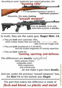 """(GC): According to some """"moderate"""" gun control advocates, this  """"hunting rifle""""  is'acceptable because it serves a  """"legitimate purpose.""""  Meanwhile, this scary-looking  """"assault weapon""""  must be banned, as its only  ostensible purpose is murder.  In truth, they are the same gun: Ruger Mini-14.  They are both semi-automatic rifles,  which simply means they can only fire  one round per trigger pull  and can accept magazines of varying capacities  hunting, sporting, and defense.  . They are both chambered in 5.56 NATO,  They are both useful for  The differences are mostly superficiah  black polymer frame,  collapsible stock,  flash suppressor,  and a pistol grip  do not make a gun more deadly.  And yet, under the previous """"assault weapons"""" ban,  the Mini-14 on the bottom was illegal.  The part that makes the difference is made of  flesh and blood, not plastic and metal. (GC)"""