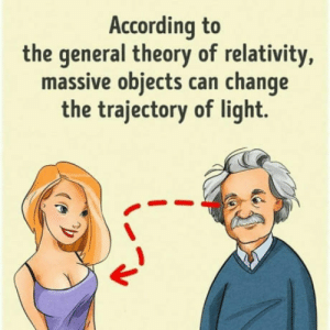 Oh geez: According to  the general theory of relativity,  massive objects can change  the trajectory of light. Oh geez