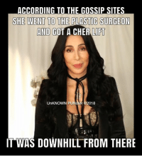 Cher, Memes, and Downhill: ACCORDING TO THE GOSSIP SITES  SHE WENT TO THE PLASTIC SURGEON  AND  GOT A CHER LIFT  UnKNOWN PUNster @2018  1  IT WAS DOWNHILL FROM THERE Remember when plastic surgery was a taboo subject? Now you mention Botox and nobody raises an eyebrow.  #UnKNOWN_PUNster