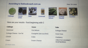 Food, Cake, and Fat: According to thefoodcoach.com.au  View 10+ more  Cabbage  Cocoa  Cake  Cornmeal  Romaine  lettuce  Cottage  Cheese  Zucchini  solids  Here are your results food beginning with C  Cabbage  Cacao  Cake  Cornmeal  Cos lettuce  Cottage Cheese  Cottage Cheese - low fat  Courgette (see zucchini)  Cous Cous  COVER  Crabs  Cranberry  CREATIVE GOURMET  Cream  Cream Cheese  RASPBERRIES  23 more roWS Romaine lettuce...