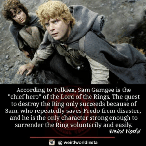 "frodo: According to Tolkien, Sam Gamgee is the  ""chief hero"" of the Lord of the Rings. The quest  to destroy the Ring only succeeds because of  Sam, who repeatedly saves Frodo from disaster,  and he is the only character strong enough to  surrender the Ring voluntarily and easily  Weird World  a weirdworldinsta"