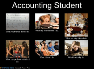 Friends, Funny, and Memes: Accounting Student  What my mom thinks I do.  What my friends think I do.  What society thinks I do.  What I actually do.  What I think I do.  What my professor thinks I  do.  FRABZ.COM MEMES & FUNNY PICS accounting memes 3 - Exodus Wear