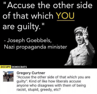 "(GC): ""Accuse the other side  of that which YOU  are guilty.""  Joseph Goebbels,  Nazi propaganda minister  DEMOCRATS  Gregory Curtner  ""Accuse the other side of that which you are  guilty"". Kind of like how liberals accuse  anyone who disagrees with them of being  racist, stupid, greedy, etc? (GC)"