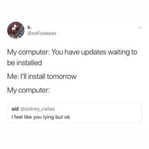 Dank, Memes, and Target: ace  S.  Wor  @safiyaaaax  On  My computer: You have updates waiting to  be installed  Me: I'll install tomorrow  My computer:  sid @sidney_cellas  I feel like you lying but ok Trust issues by kaktuscat MORE MEMES