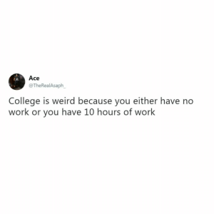 College, Tumblr, and Weird: Ace  @TheRealAsaph  ie.  College is weird because you either have no  work or you have 10 hours of work Follow us @studentlifeproblems