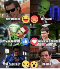 From Crazy about movies: ACE VENTURA  THE MASK  MAN FOREVERE I DUMBAND DUMBER  THE CABLE GUY  LIAR LIAR From Crazy about movies